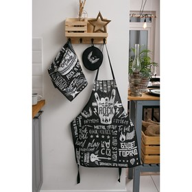 Кухонный набор Rock'n'roll: фартук, прихватка, полотенце