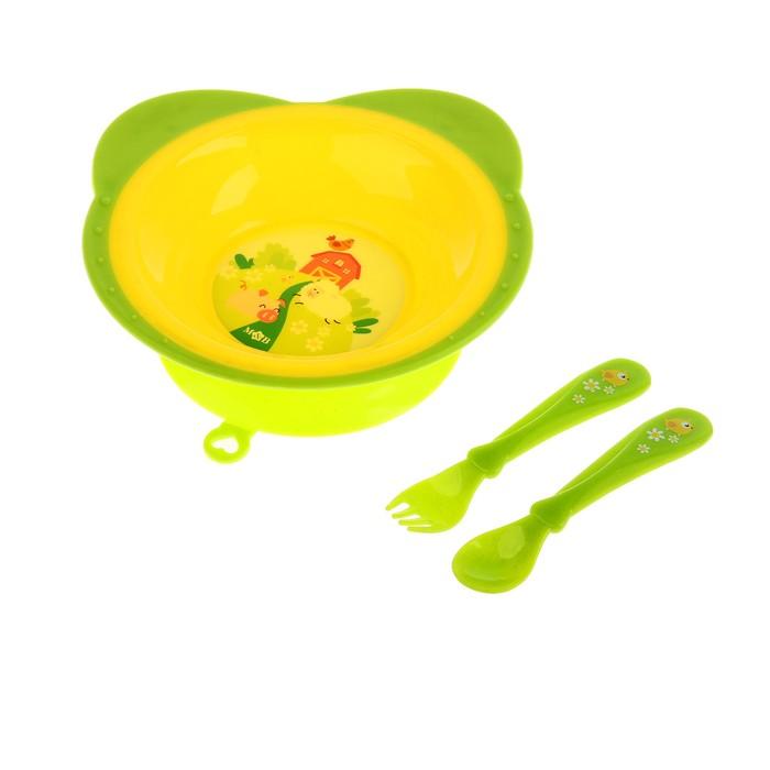 Набор посуды «Веселая ферма», 3 предмета: тарелка на присоске 250 мл, вилка, ложка