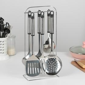 Набор кухонных принадлежностей «Помощник», 6 предметов, на подставке