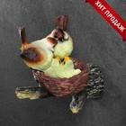 """Подвесной декор """"Гнездо с серыми птицами"""" 18х10х15см"""