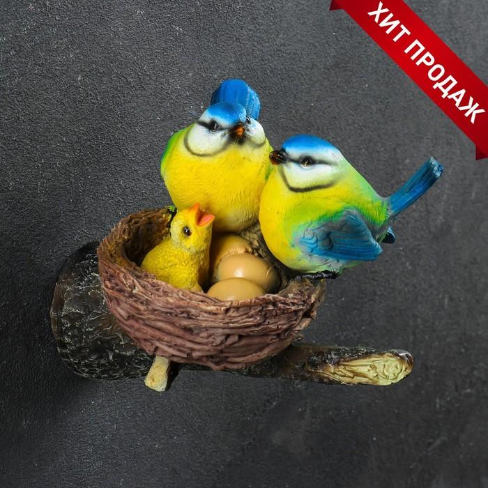 """Подвесной декор """"Гнездо с синицами"""" 19х11х12см"""