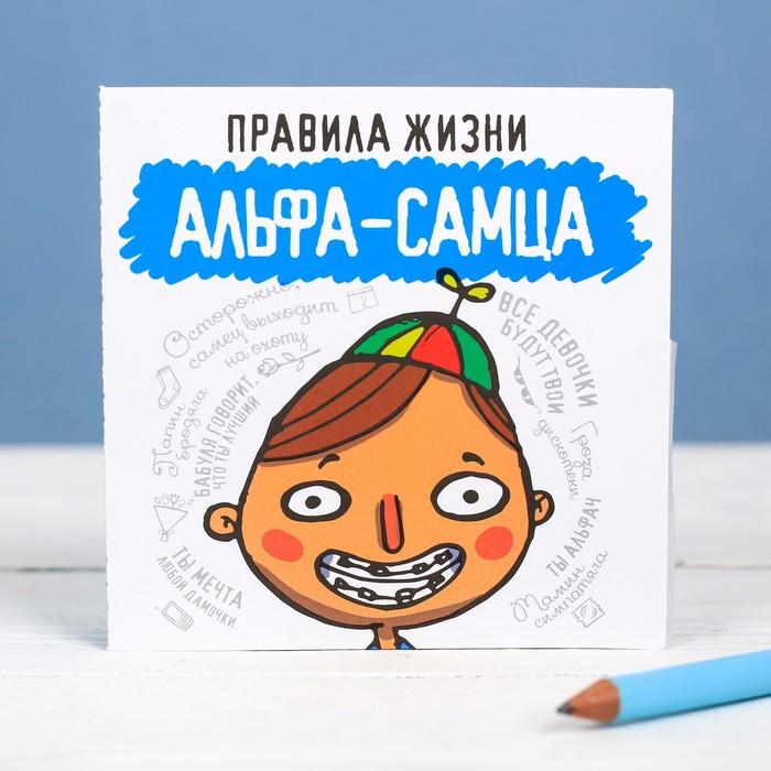 Книжка - открытка «Правила жизни альфа самца», 10 × 10 см