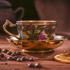 """Чайная пара латунь """"Цветы"""" 11х11х6 см"""