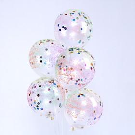 """Шар латексный 12"""" """"С днем рождения"""", сердце, конфетти, бумага, набор 5 шт"""