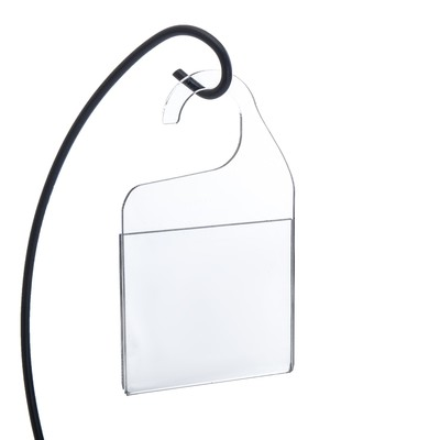 Ценникодержатель-карман с крючком для подвеса, оргстекло