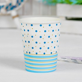 "Glass paper ""Circles and stripes"", 250 ml, set of 6 PCs, blue color"