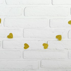 Гирлянда «Сердечки», 200 см, цвет золотой