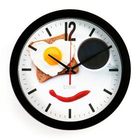 """Часы настенные, серия: Кухня, """"Веселый завтрак"""", плавный ход, d=28 см"""