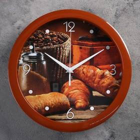 """Часы настенные, серия: Кухня, """"Круассан с кофе"""", плавный ход, d=28 см"""