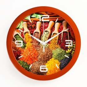 """Часы настенные, серия: Кухня, """"Восточные пряности"""", плавный ход, d=28 см"""