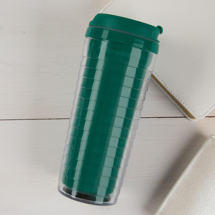 Термостакан под вставку зеленый ребристый 350 мл