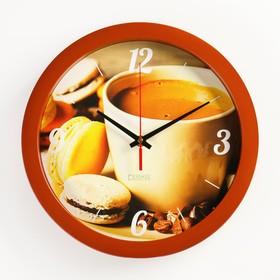 """Часы настенные, серия: Кухня, """"Кофе и макаруны"""", плавный ход, d=28 см"""