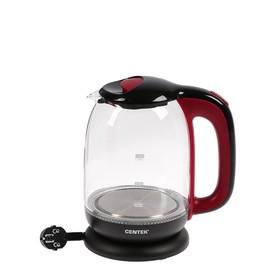 Чайник электрический Centek CT-0034, 2200 Вт, 1.8 л, стекло, подсветка, черно-красный