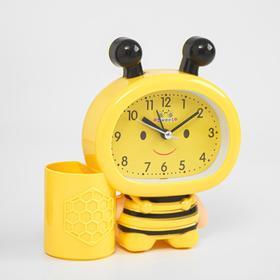 "Будильник ""Пчела"", дискретный ход, 14.5 х 14 см, d=9 см, желтый"