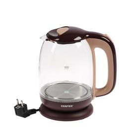 Чайник электрический Centek CT-0034 Coffee Vancouver, 2200 Вт, 1.8 л, стекло, коричневый