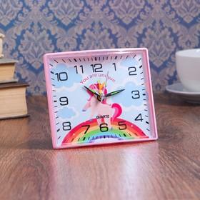 """Будильник """"Единорог"""", квадратный, 12.5х10.5 см, микс"""