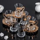 """Набор чайный 6 персон """"Грация"""" :  кружка 6 шт 140 мл, блюдце 6 шт 12 см"""