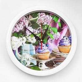 """Часы настенные, серия: Кухня, """"Сиреневое настроение"""", плавный ход, d=28 см"""