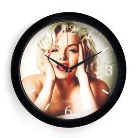 """Часы настенные, серия: Люди, """"Мерлин Монро"""", плавный ход, d=28 см"""