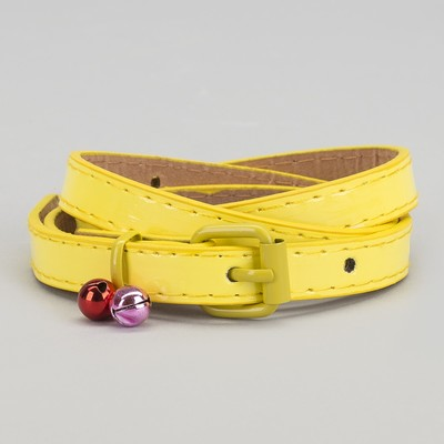 "Strap children's ""Erica"", lacquer, buckle and yoke in the color of the strap, 1.5 cm width, color yellow"