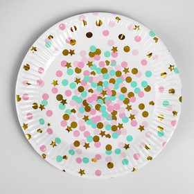 """Plate paper """"Confetti and stars"""" set of 6 PCs, pink"""