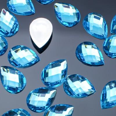 Rhinestone flat drop, 10*14mm (set of 20pcs), color sky blue