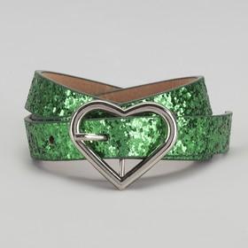 Ремень детский, пряжка металл, ширина - 2 см, цвет зелёный