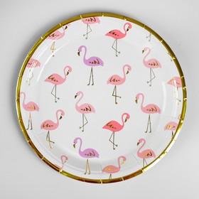 Тарелка бумажная «Фламинго», с теснением, набор 6 шт.