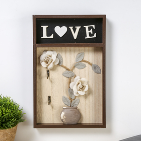"""Крючки декоративные дерево """"Ваза с розами. Love"""" 31х20х3 см"""