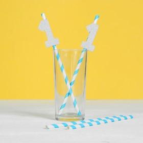 Трубочки бумажные «1 годик», малыш, набор 6 шт.