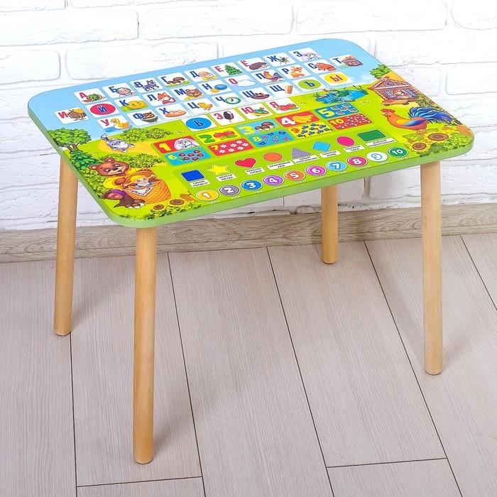 Стол «Алфавит 4», с деревянными ножками