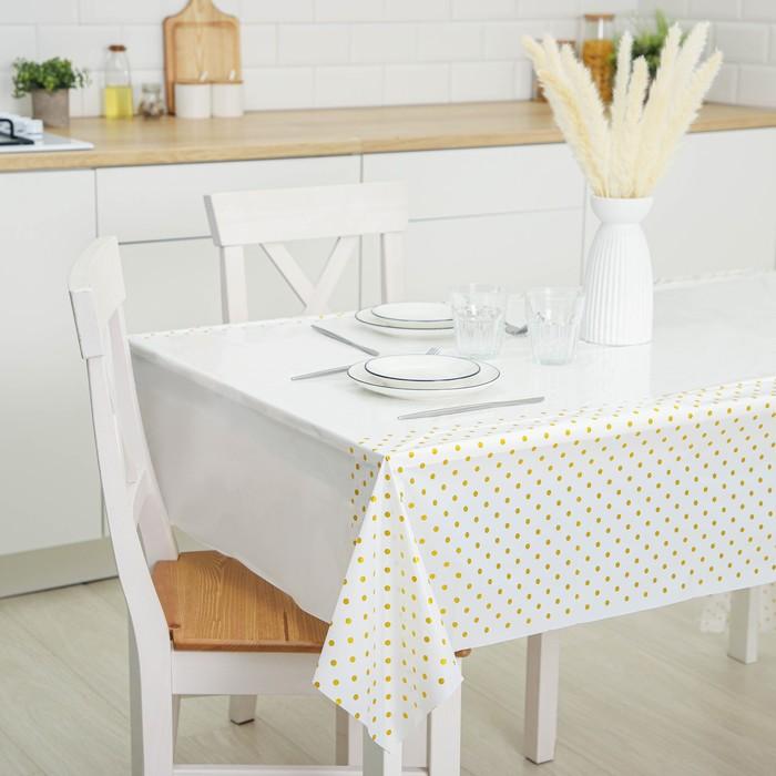Tablecloth polka dot color gold, 137*220 cm