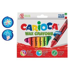 """Мелки восковые 12 цветов Carioca """"Maxi Wax Crayons"""" 110 мм, диаметр 12 мм, круглые, в картонной коробке"""