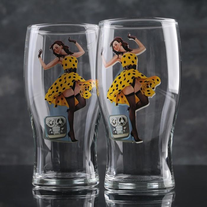 Набор бокалов для пива 500 мл Рin-up Beer, 2 шт, рисунок МИКС