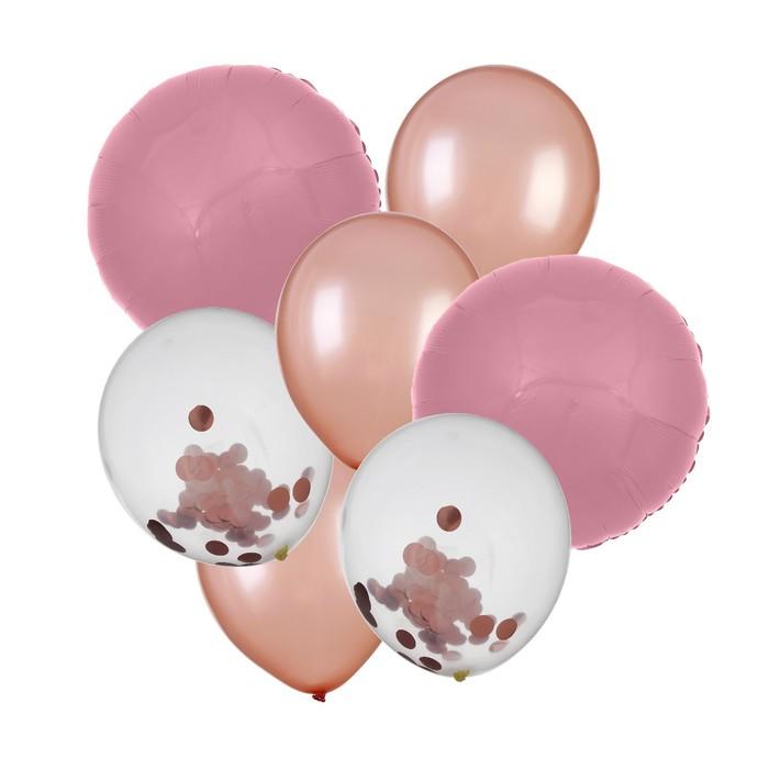 """Букет из шаров """"Праздничный"""" конфетти, фольга, латекс, набор 7 шт, цвет розовое золото"""