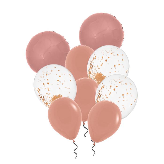 Букет из шаров «Праздничный», конфетти, фольга, латекс, набор 9 шт., цвет розовое золото - фото 308469811