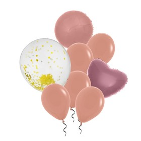 Букет из шаров «Праздничный», конфетти, фольга, латекс, набор 8 шт., цвет розовое золото