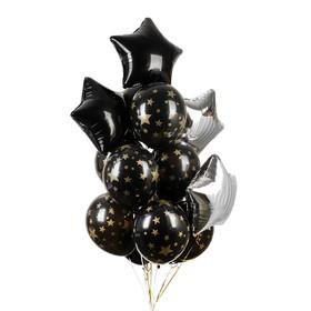 Букет из шаров «Ночь», фольга , латекс, лента, набор 15 шт., золотые звёзды