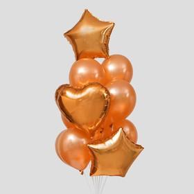 Букет из шаров «Праздничный», фольга, латекс, набор 12 шт., цвет розовое золото