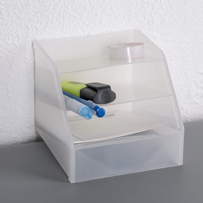 Органайзер 3-х секционный 123х115х97 мм, цвет белый - фото 246916939
