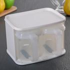 Набор банок для сыпучих продуктов, 3 предмета: 2 банки 0,72 л, подставка, цвет белый