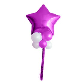 "A bouquet of balloons ""Star balls"", foil, latex, rain, set of 9 PCs, fuchsia and white"