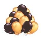 """Набор латексных шаров 10"""", 12 шт, цвет золотой и черный"""