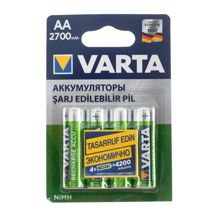 Аккумулятор Varta, Ni-Mh, AA, HR6-4BL, 1.2В, 2700 мАч, блистер, 4 шт. - фото 9160