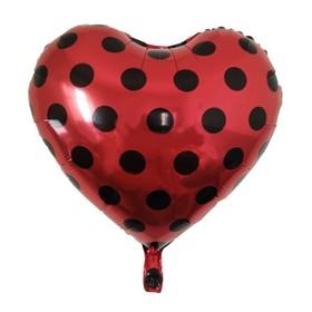 """Шар фольгированный 18"""" """"Черные точки на красном"""", сердце"""