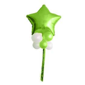 "A bouquet of balloons ""Star balls"", foil, latex, rain, set of 9 PCs, color green, white"