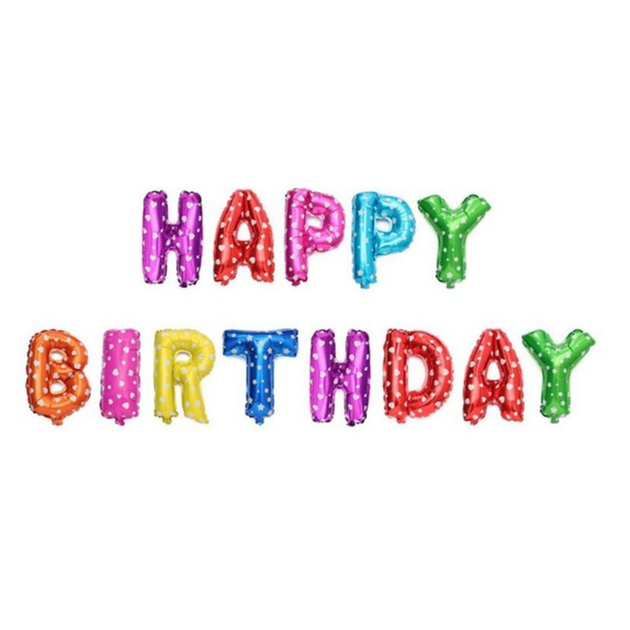 """Шар фольгированный 16"""" """"С днём рождения"""", заглавные буквы, сердечки, цвет разноцветный - фото 152553880"""