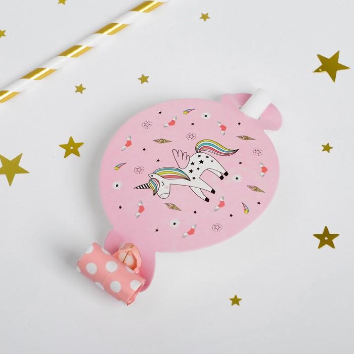 Карнавальный язычок «Единорог», набор 6 шт., цвет розовый - фото 457180