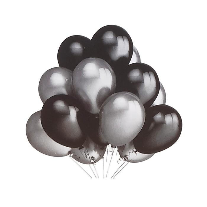 """Шары латексные 10"""", набор 12 шт., цвет серебряный и чёрный - фото 308474859"""