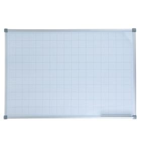 Доска магнитно-маркерная, 60 х 90 см, с линовкой в клетку 5х5 см, в алюминиевом профиле, серия Standart